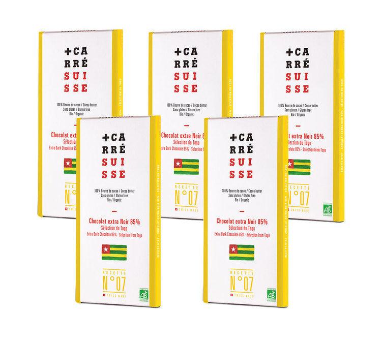 Carré Suisse Pack de 5 Tablettes Grand Cru Chocolat Noir Togo 85% Bio 5x100g - Carré Suisse