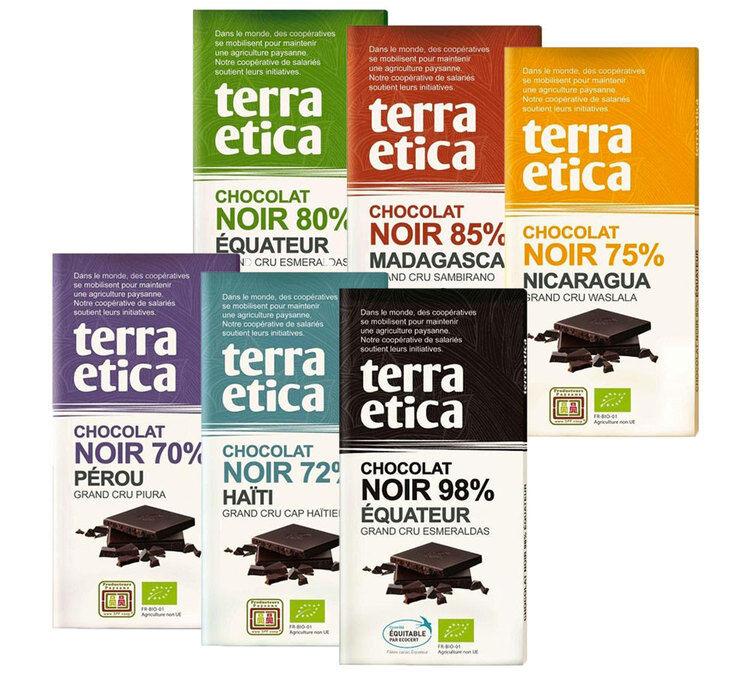 Terra Etica Pack de 6 Tablettes 100% chocolat Noir 6x100g - Terra Etica