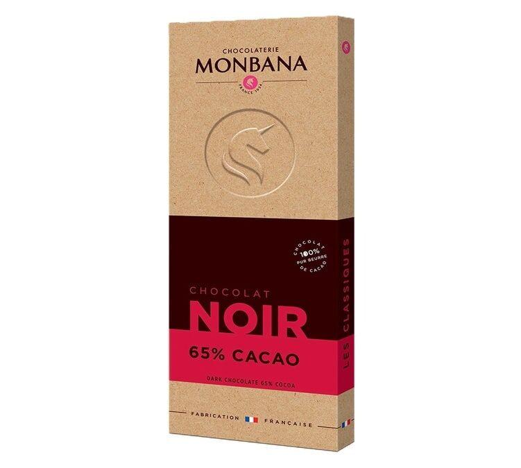 Monbana Tablette chocolat noir 65% cacao 100g - Monbana