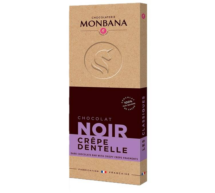 Monbana Tablette chocolat noir crèpe dentelle 100g - Monbana