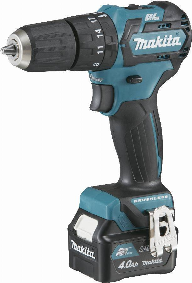Makita Perceuse visseuse à percussion 12 V CXT Li-Ion 4 Ah Ø 10 mm  MAKITA - 2 batteries, chargeur, coffret - HP332DSMJ