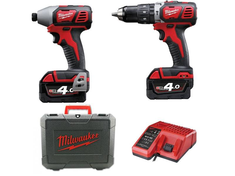 Milwaukee Lot 2 machines MILWAUKEE M18BPP2C-402C 18V 4.0Ah - Perceuse à percussion + Visseuse à chocs - 4933443552