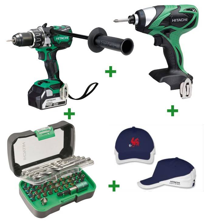 Hitachi Lot de 2 machines HITACHI - HIKOKI Perceuse visseuse DS18 DBL2 5A + Visseuse à chocs WH 18DSAL + Coffret de percage vissage + Casquette Euro 2016 - XX136NMWH
