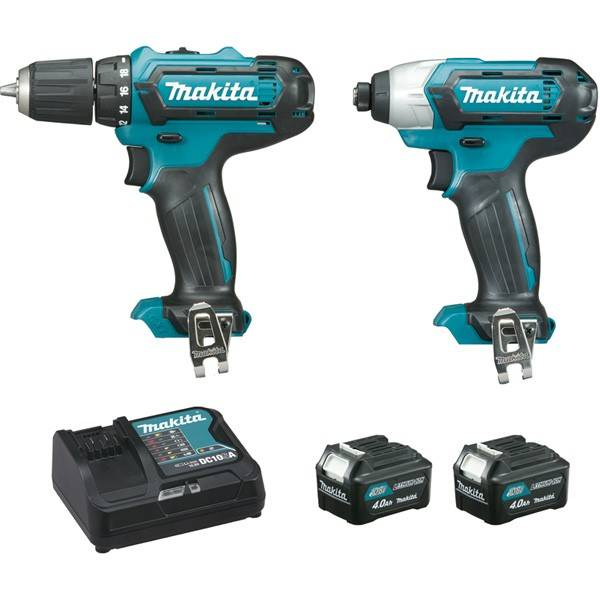 Makita Ensemble de 2 machines MAKITA  10,8 V Li-Ion 4.0Ah CXT - Perceuse DF331D + Visseuse à chocs TD110D - CLX201SMJ