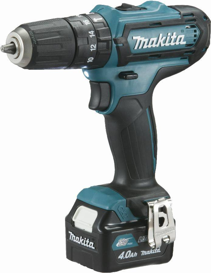 Makita Perceuse visseuse à percussion 12 V CXT Li-Ion 4 Ah Ø 10 mm  MAKITA - 2 batteries, chargeur, coffret - HP331DSMJ