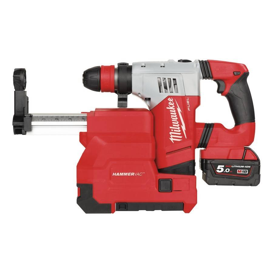 Milwaukee Perforateur burineur MILWAUKEE M28 CHPXDE-502C SDS+ 28V - 2 batteries 5.0Ah, chargeur + Système d'aspiration - 4933448015