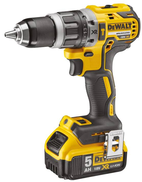 DeWalt Perceuse visseuse à percussion DEWALT 18V 5.0Ah XR + 2 batteries, chargeur en coffret - DCD796P2