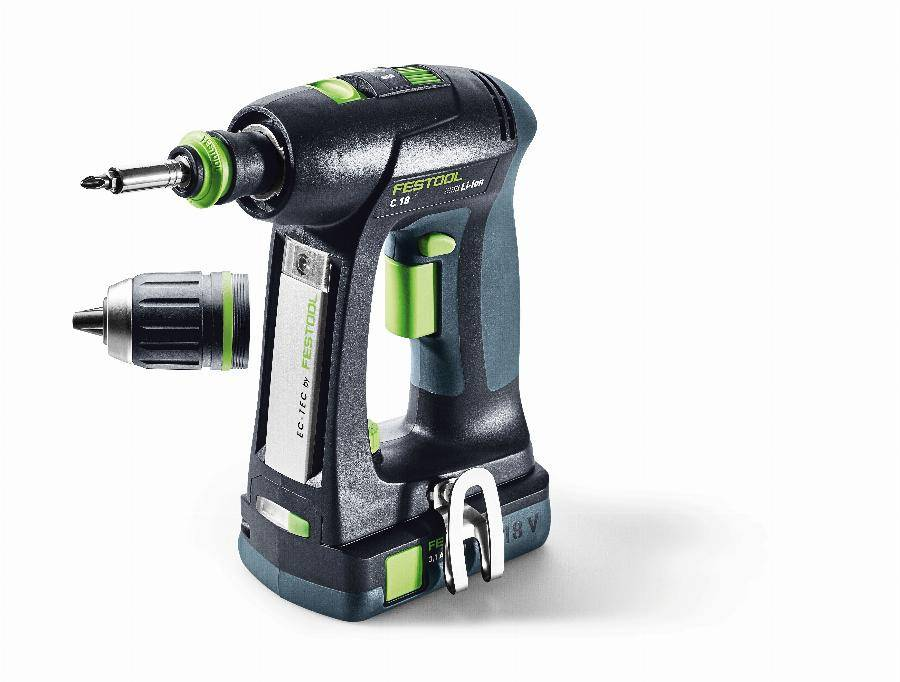 Festool Perceuse visseuse FESTOOL C18 - 2 Batteries 18V 3.1Ah, chargeur, mandrin Centrotec - 574921