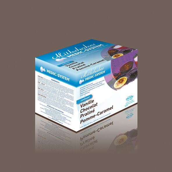 Medic-system Milkshakes protéinés Pomme-Caramel Vanille Chocolat Praliné