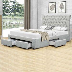 Lit design avec tiroirs HYDE - Couleurs - Gris, Tailles - 140x190 - Publicité