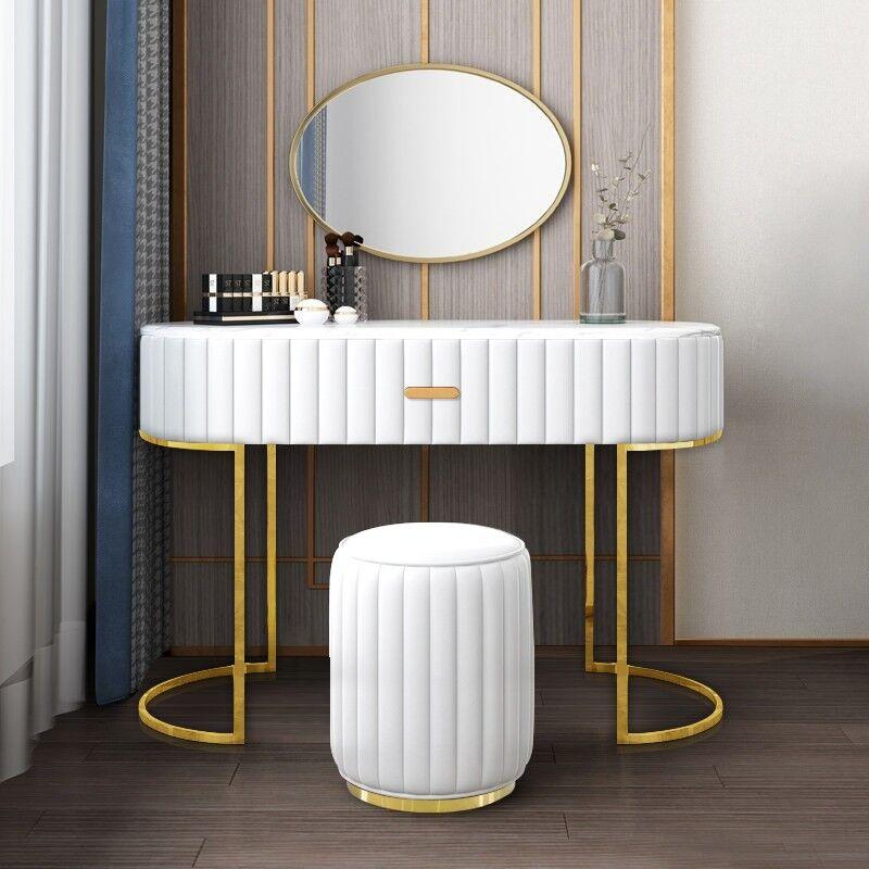 Coiffeuse à tiroir dessus de table en faux marbre VITA - Couleurs - PU Blanc