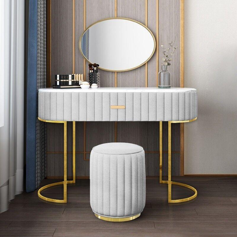 Coiffeuse à tiroir dessus de table en faux marbre VITA - Couleurs - Velours Gris