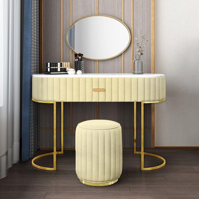Coiffeuse à tiroir dessus de table en faux marbre VITA - Couleurs - Velours Beige