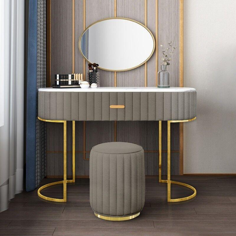 Coiffeuse à tiroir dessus de table en faux marbre VITA - Couleurs - Velours Taupe