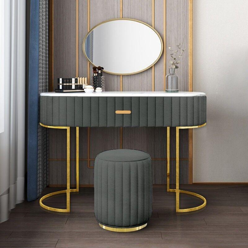Coiffeuse à tiroir dessus de table en faux marbre VITA - Couleurs - PU Gris