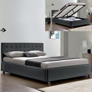 Lit complet sommier relevable + tête de lit + cadre de lit Capitole - Couleurs - Gris, Tailles - 180x200