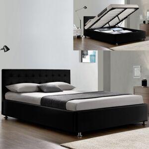 Lit complet sommier relevable + tête de lit + cadre de lit Capitole - Couleurs - Noir, Tailles - 140x190 - Publicité