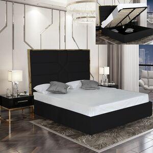 Lit coffre design effet laiton Dalia - Couleurs - Noir, Tailles - 180x200 - Publicité