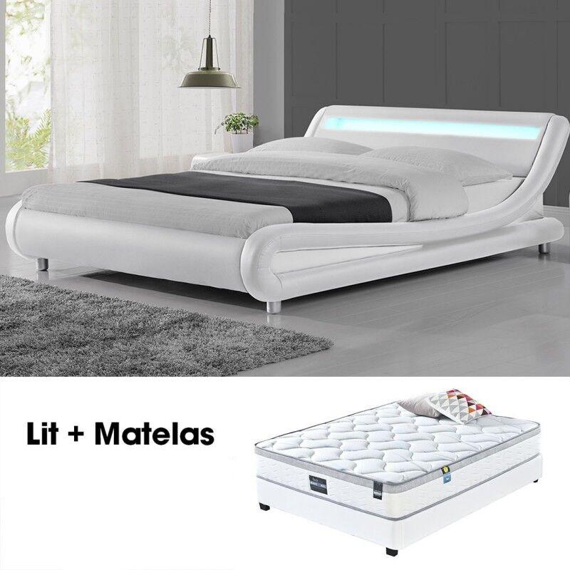 Lit + matelas Julio blanc 140cm avec Matelas Romance