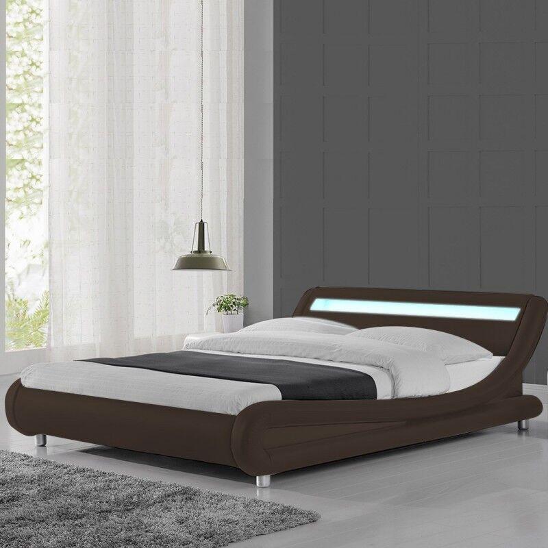 Lit led design Julio - Couleurs - Marron, Tailles - 160x200