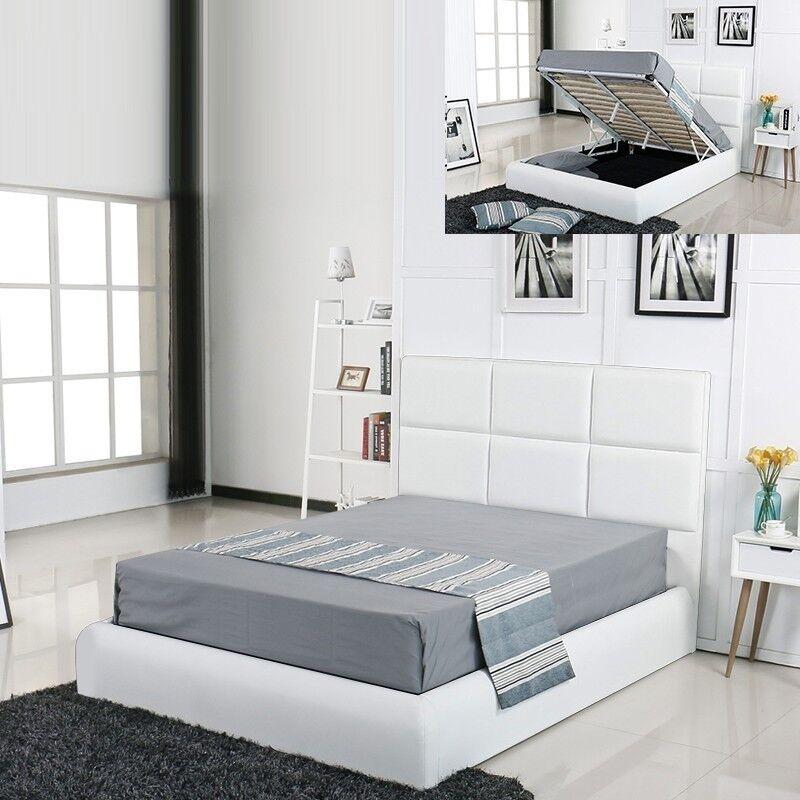 Lit coffre design Alves - Couleurs - Blanc, Tailles - 160x200