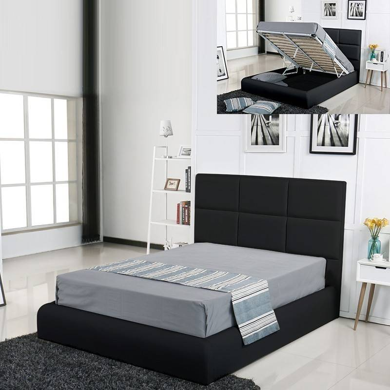 Lit coffre design Alves - Couleurs - Noir, Tailles - 180x200