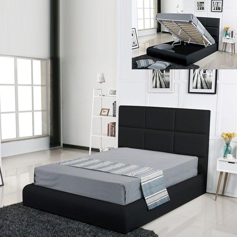 Lit coffre design Alves - Couleurs - Noir, Tailles - 160x200