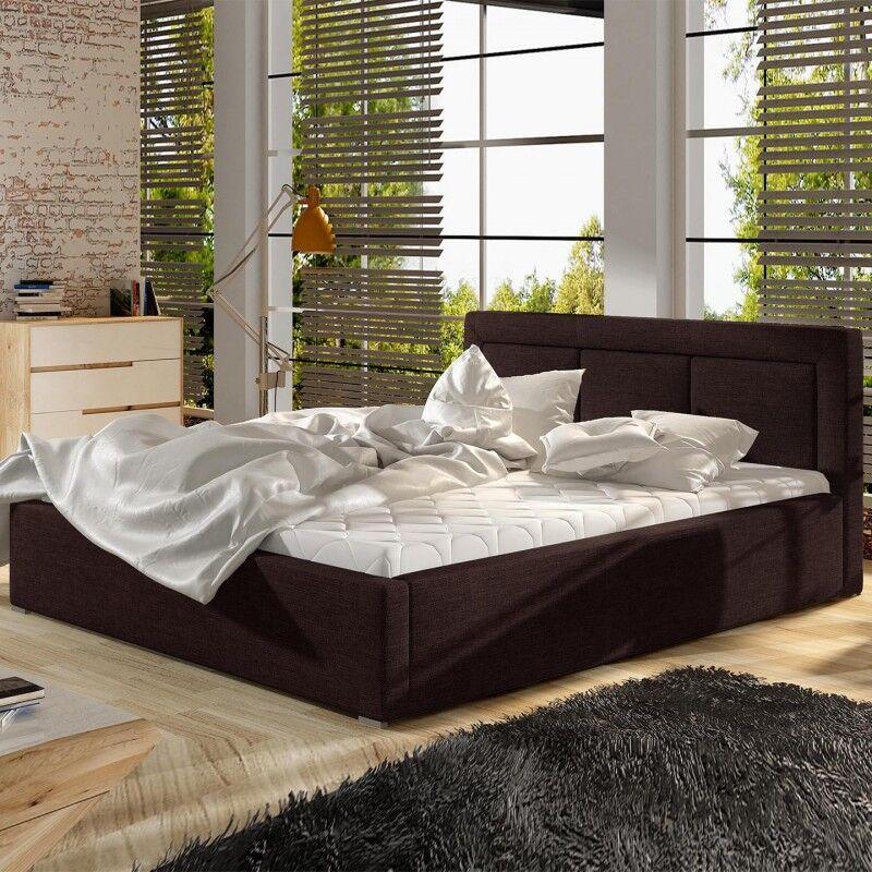 Lit coffre sommier relevable design BELLUNO - Couleurs - Tissu Marron, Tailles - 140x200