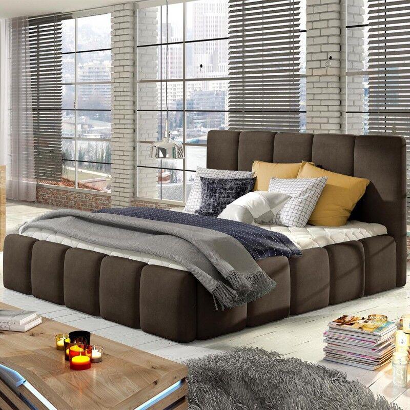 Lit coffre sommier relevable design EDVIGE - Couleurs - Tissu Marron, Tailles - 140x200