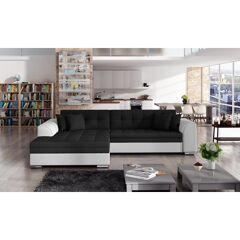 Canapé d'angle convertible design Sorento - Angle du canapé - Gauche, Couleurs - Tissu Noir/ PU Blanc
