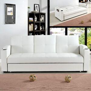Canapé 3 places clic-clac avec tablette centrale rabattable coffre Corabar - Couleurs - Blanc - Publicité