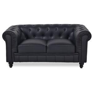 Chesterfield canapé 2 places - Couleurs - PU Noir, Types de canapé - 2 places Chesterfield - Publicité