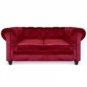 Chesterfield canapé 2 places - Couleurs - Velours Rouge, Types de canapé - 2 places Chesterfield - Publicité