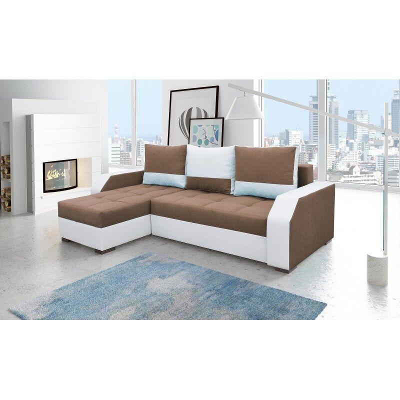 Canapé d'angle convertible réversible design Aris - Couleurs - Tissu Marron et Blanc / PU Blanc