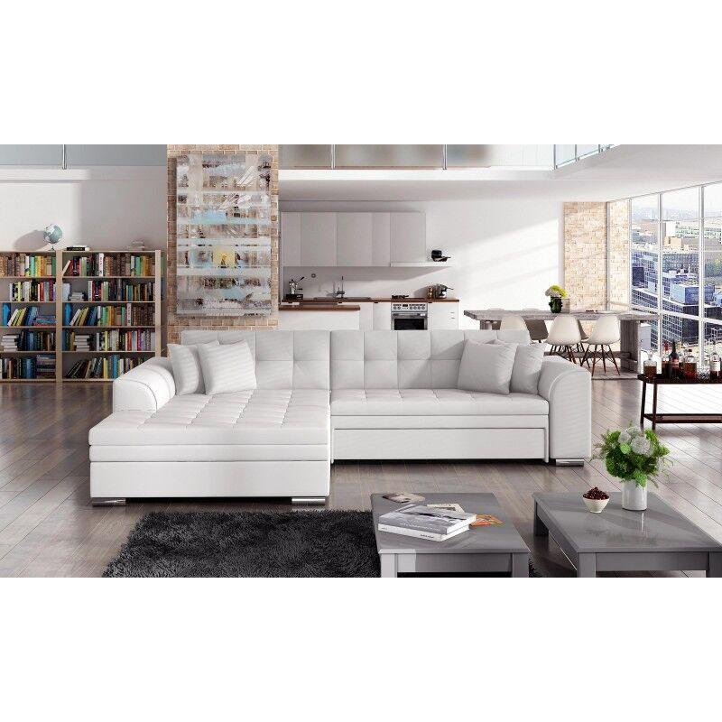 Canapé d'angle convertible design Sorento - Angle du canapé - Droit, Couleurs - PU Blanc