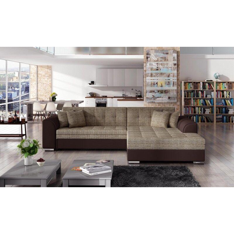 Canapé d'angle convertible design Sorento - Angle du canapé - Droit, Couleurs - Tissu tabac / PU marron