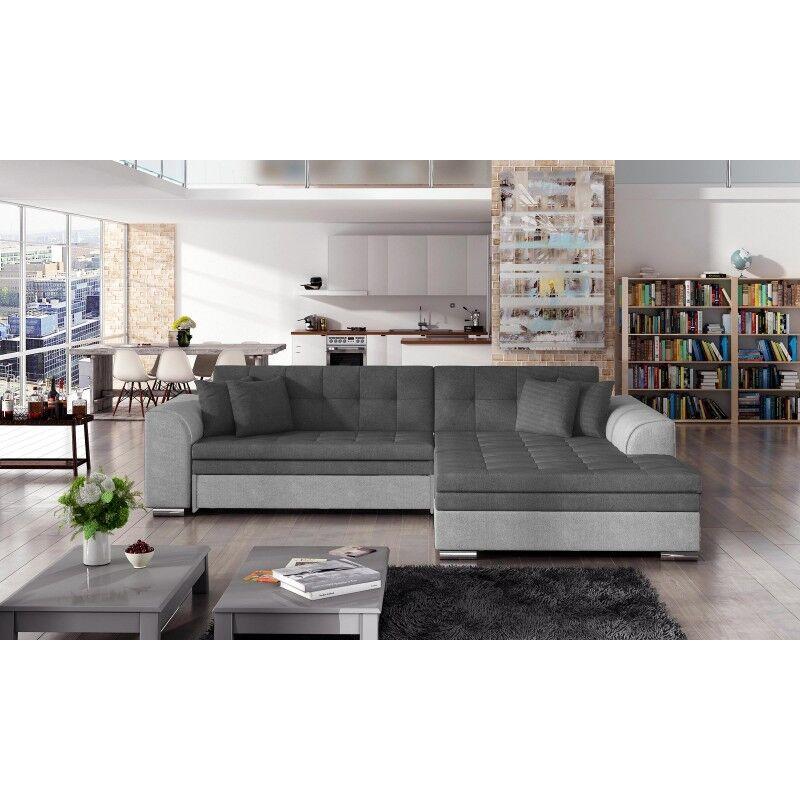 Canapé d'angle convertible design Sorento - Angle du canapé - Droit, Couleurs - Tissu gris / PU gris