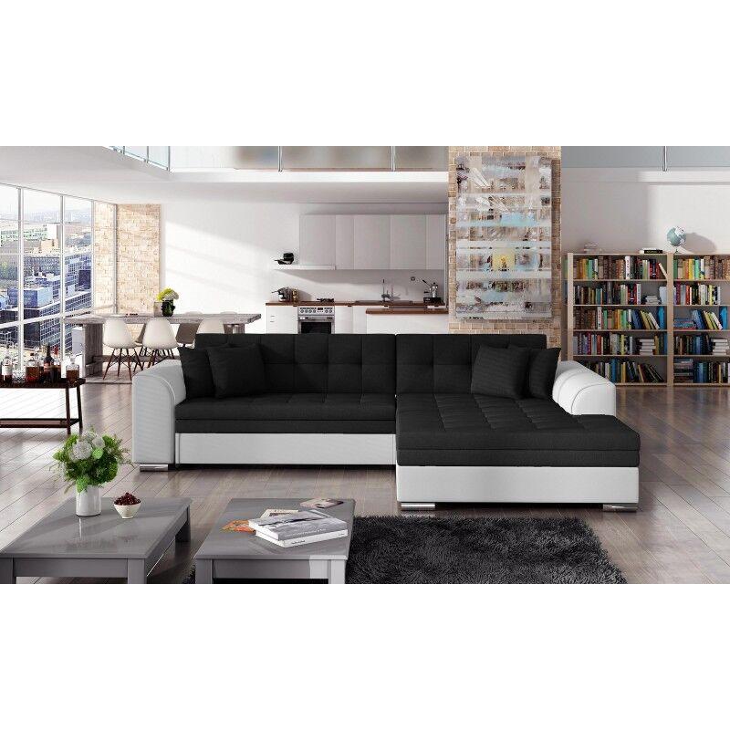 Canapé d'angle convertible design Sorento - Angle du canapé - Droit, Couleurs - Tissu Noir/ PU Blanc