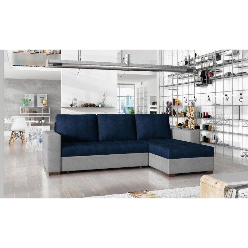 Canapé d'angle convertible réversible design Newark - Couleurs - Tissu Bleu / PU Gris