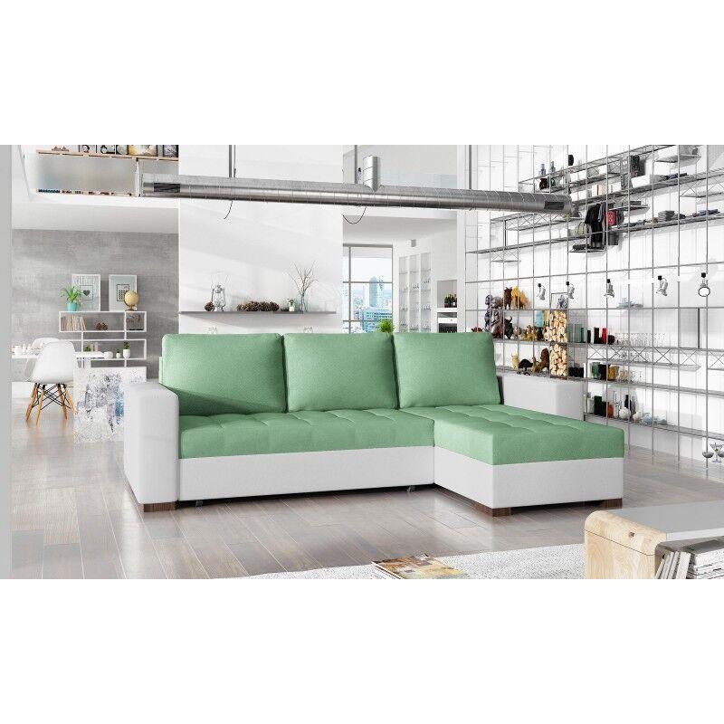 Canapé d'angle convertible réversible design Newark - Couleurs - Tissu Pistache / PU Blanc