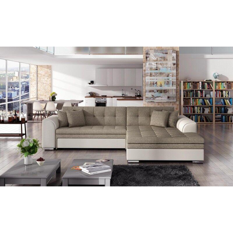 Canapé d'angle convertible design Sorento - Angle du canapé - Droit, Couleurs - Tissu tabac / PU beige