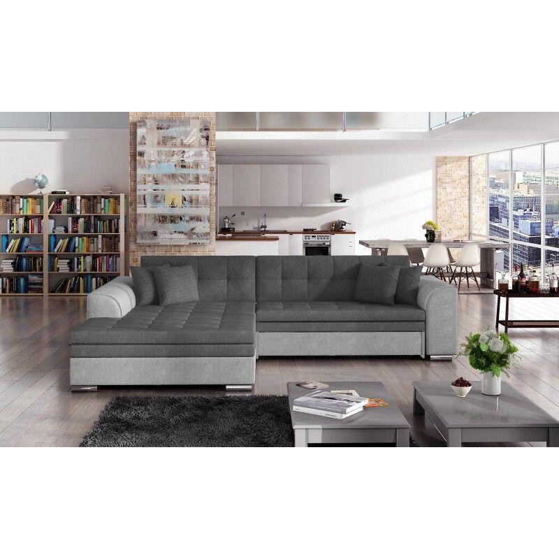 Canapé d'angle convertible design Sorento - Angle du canapé - Gauche, Couleurs - Tissu gris / PU gris