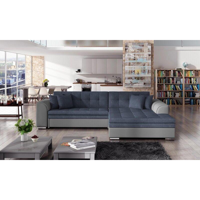 Canapé d'angle convertible design Sorento - Angle du canapé - Droit, Couleurs - Tissu Bleu / PU Gris