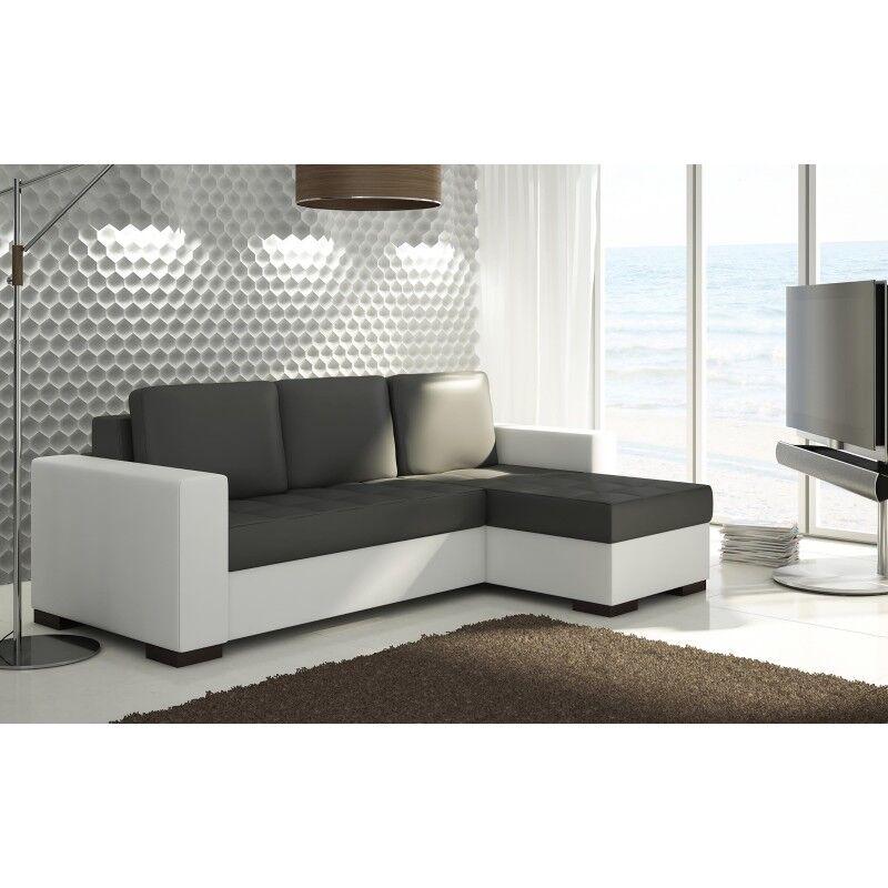 Canapé d'angle convertible réversible design Newark - Couleurs - Tissu gris foncé / PU blanc