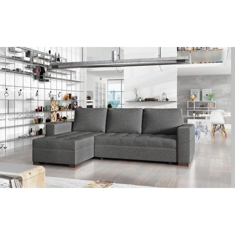 Canapé d'angle convertible réversible design Newark - Couleurs - Tissu Gris