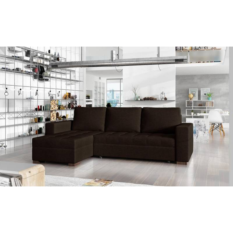 Canapé d'angle convertible réversible design Newark - Couleurs - Tissu Marron