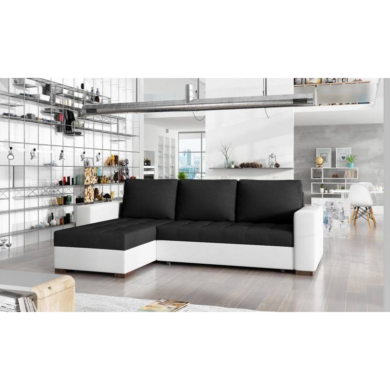 Canapé d'angle convertible réversible design Newark - Couleurs - Tissu Noir/ PU Blanc