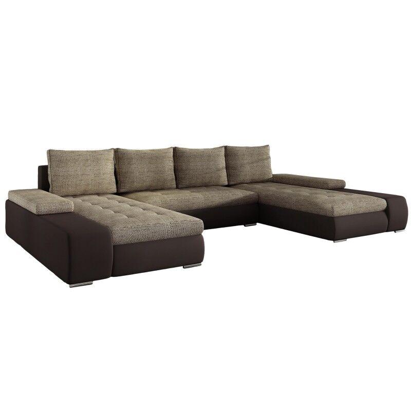 Canapé d'angle panoramique en u convertible Marino - Couleurs - Tissu tabac / PU marron
