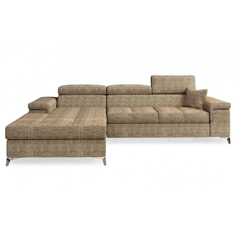 Canapé d'angle convertible design RICARDO - Angle du canapé - Droit, Couleurs - Tissu tabac