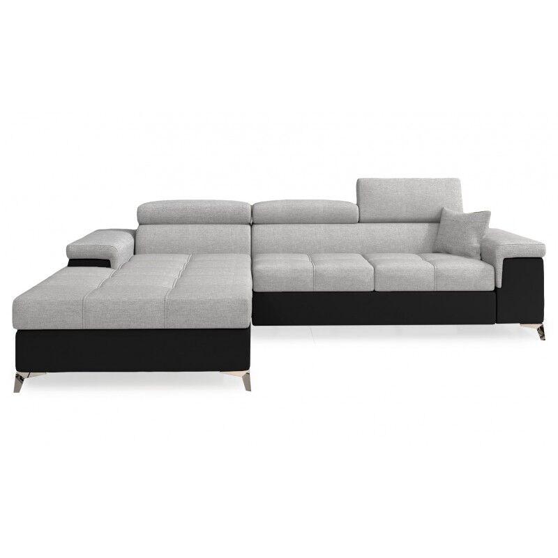 Canapé d'angle convertible design RICARDO - Angle du canapé - Droit, Couleurs - Tissu gris clair / PU noir